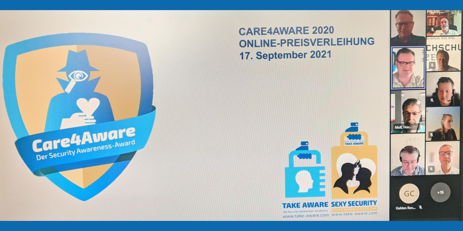 "IWC Schaffhausen, Daimler AG und Amadeus IT Group Sieger beim Security Awareness-Award ""Care4Aware"""